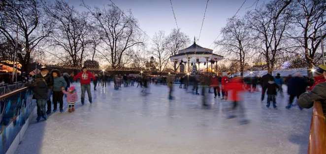 ice skating, ice rink, hyde park, winter wonderland