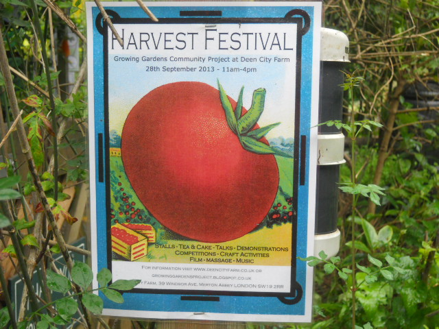 deen city farm, growing gardens community project, harvest festival, poster