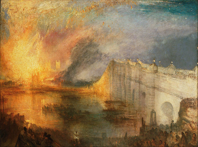 The Burning of the Houses of Lords and Commons, 16th October, 1834, jmw turner