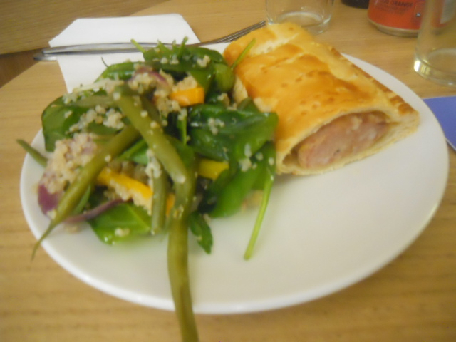 cafe in the crypt, spits live, chris ike, christ church spitalfields, spinach, quinoa, feta, salad, sausage roll