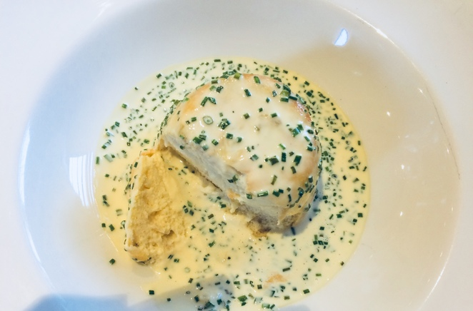 Smoked Haddock soufflé, Churchill arms, paxford