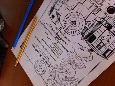 children menu, colouring in, bridgewater station, dundee, river tay, restaurant