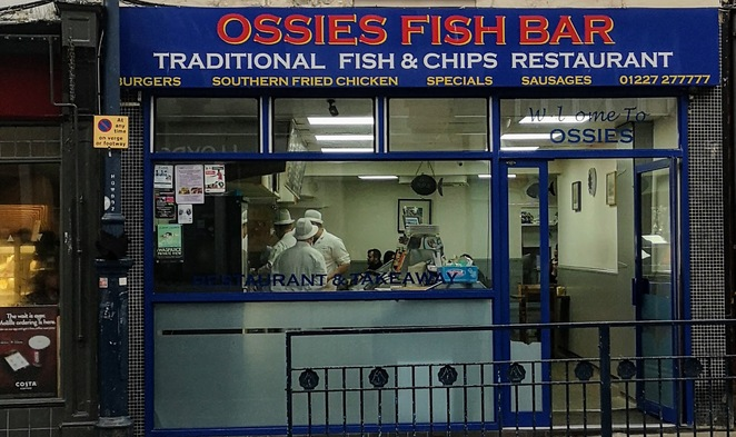 Ossies fish bar, Whitstable, fish and chips