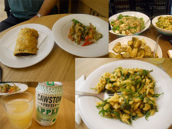 christ church spitalfields, cafe in the crypt, pasta, salad, pasty, apple juice