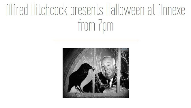 Annexe restaurant, Birmingham Halloween events, Alfred Hitchcock evening