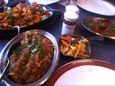 Sizzling Paneer, Ginger Chicken, Fish Curry