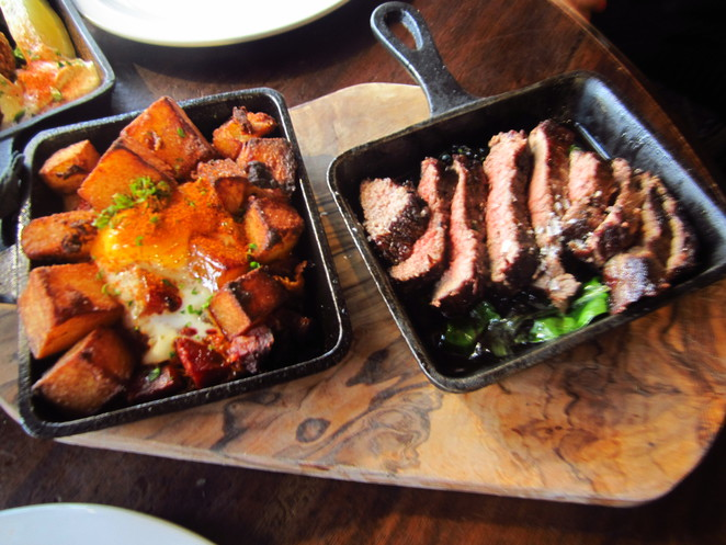 Rump Steak and Patatas Bravas