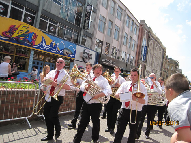 marching band in summer parade