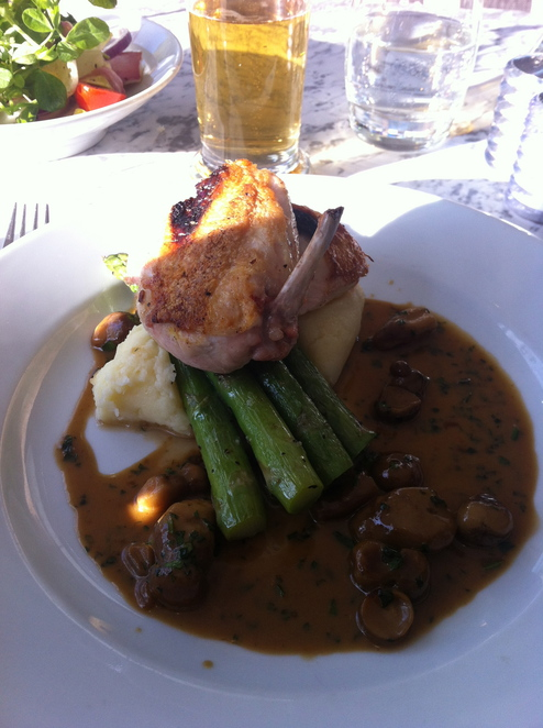 Roast chicken mash potato asparagus mushroom gravy
