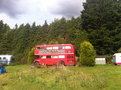 camping, camping double decker bus, bus blackberry woods, sleep in double decker bus, double decker bus