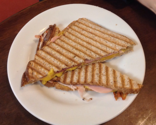 Toastie, cheese and ham, plate, sandwich