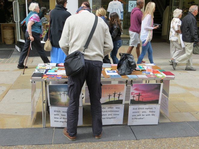 christian, faith, oxford, cornmarket, street, stall
