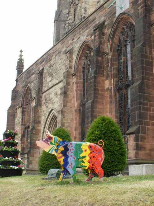 Tamworth Two, Sandyback pigs, Tamworth Borough Council, St Elizabeth's Primary School, St Editha's Church