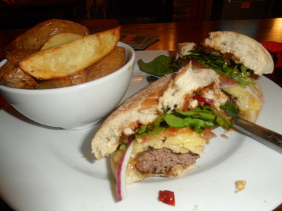Cheese Burger, The Fleece Inn, Haworth, Bronte, Dinner
