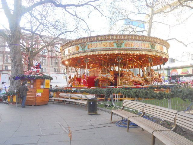 leicester square, christmas, funfair, carousel