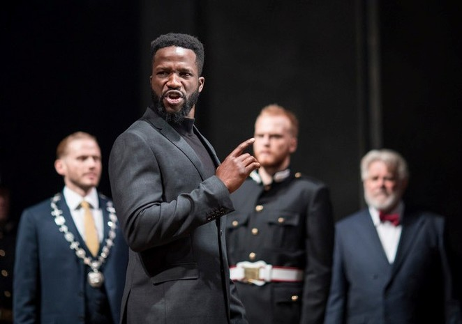 Coriolanus, RSC, review, Sope Dirisu, James Corrigan, Haydn Gwynne, Stratford, Angus Jackson director. Photos byHelen Maybanks