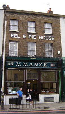 Manze's Pie and Eel shop, Peckham (source: Fin Fahey via Wikicommons)