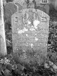 A close up of one of the headstones