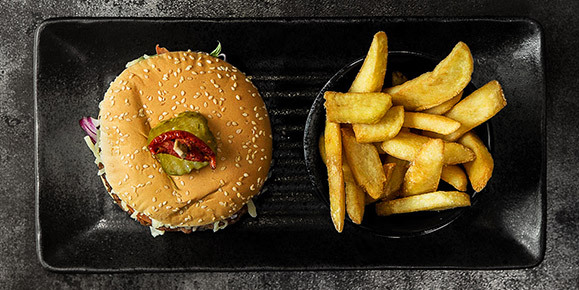 burger, chips, fries, cosmo