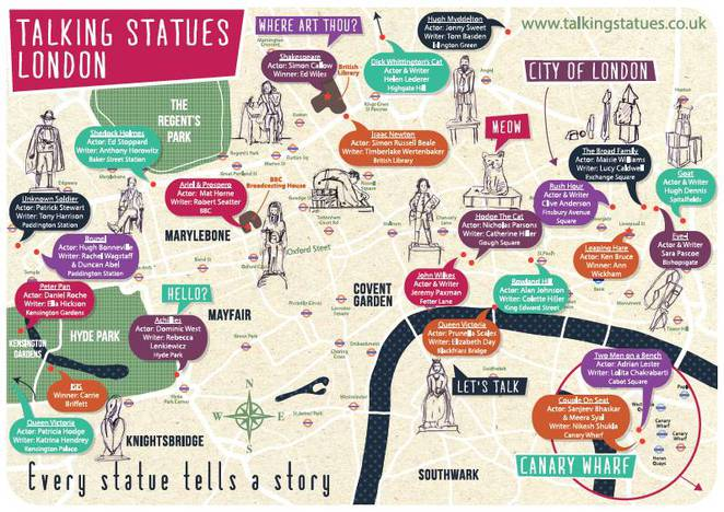 map of talking statues