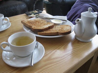 Toast, peppermint tea, Ganden Buddhist centre, World Peace Cafe, Halifax