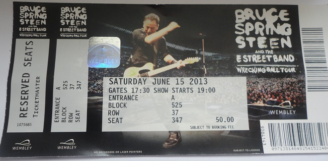 Bruce Springsteen Wrecking Ball Tour at Wembley Stadium, Ticket