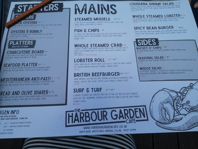 Menu Harbour Garden cafe Whitstable seafood