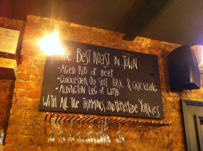 pub blackboard, Sunday lunch, roast, The Alice House, Queens Park, London, bar, restaurant, lunch, toddler group