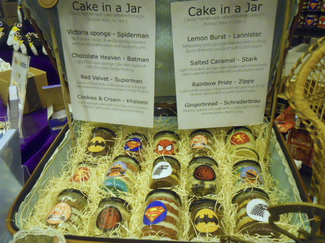 london film and comic convention, cake in a jar