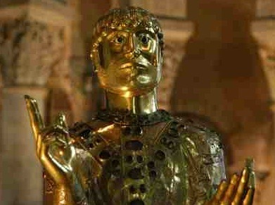 Statue reliquary of St Baudime in the church of St Nectair, Auvergne, France