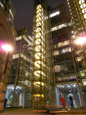 Meccano building at Night